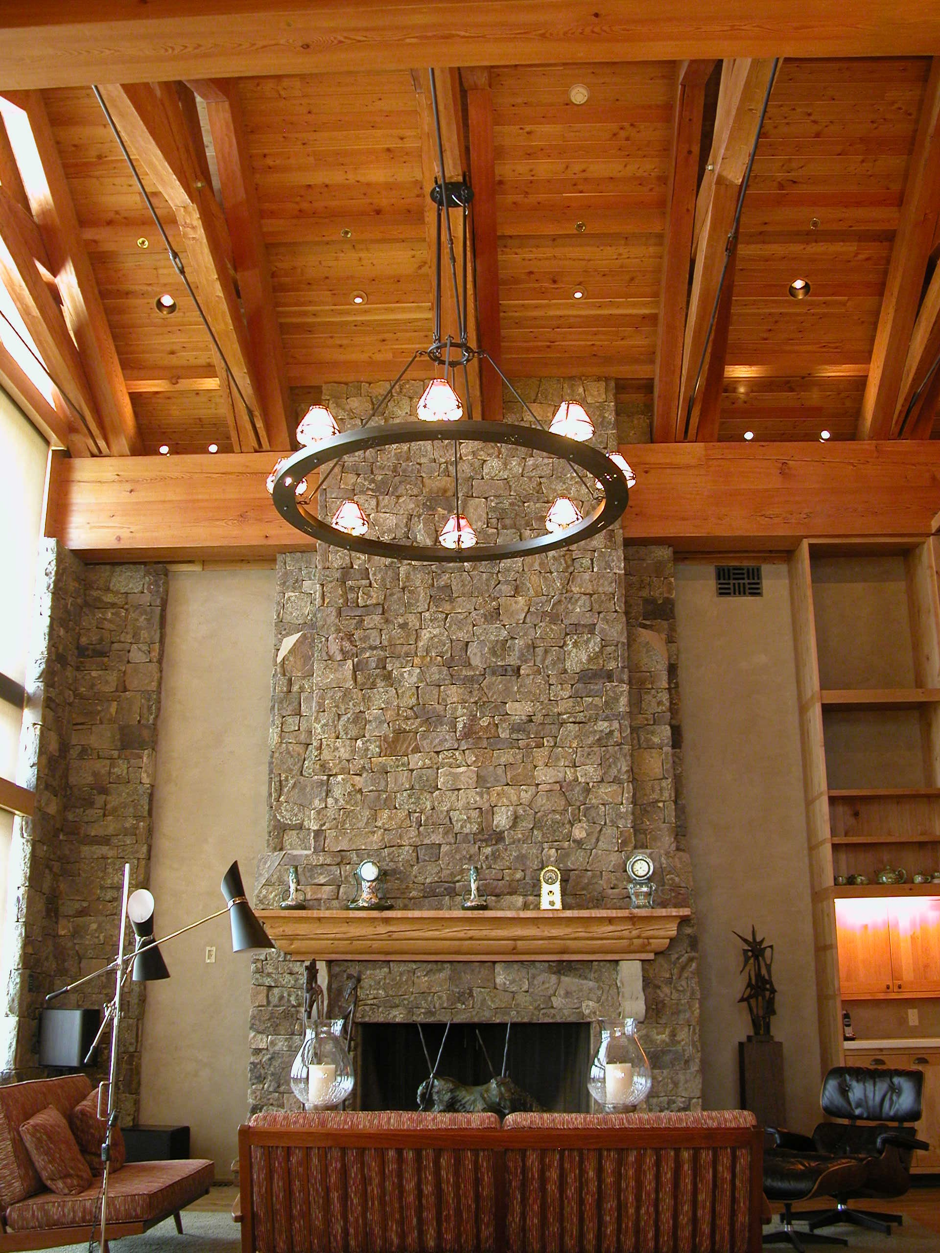 Custom Lighting Lodge Ring Chandelier in setting