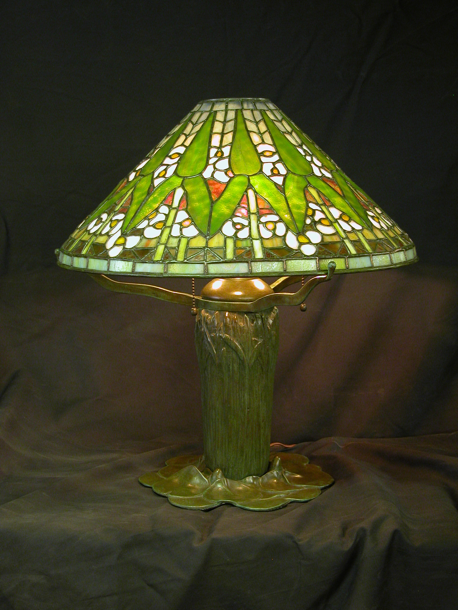 Custom Lighting Arrowroot on Cattails Lamp