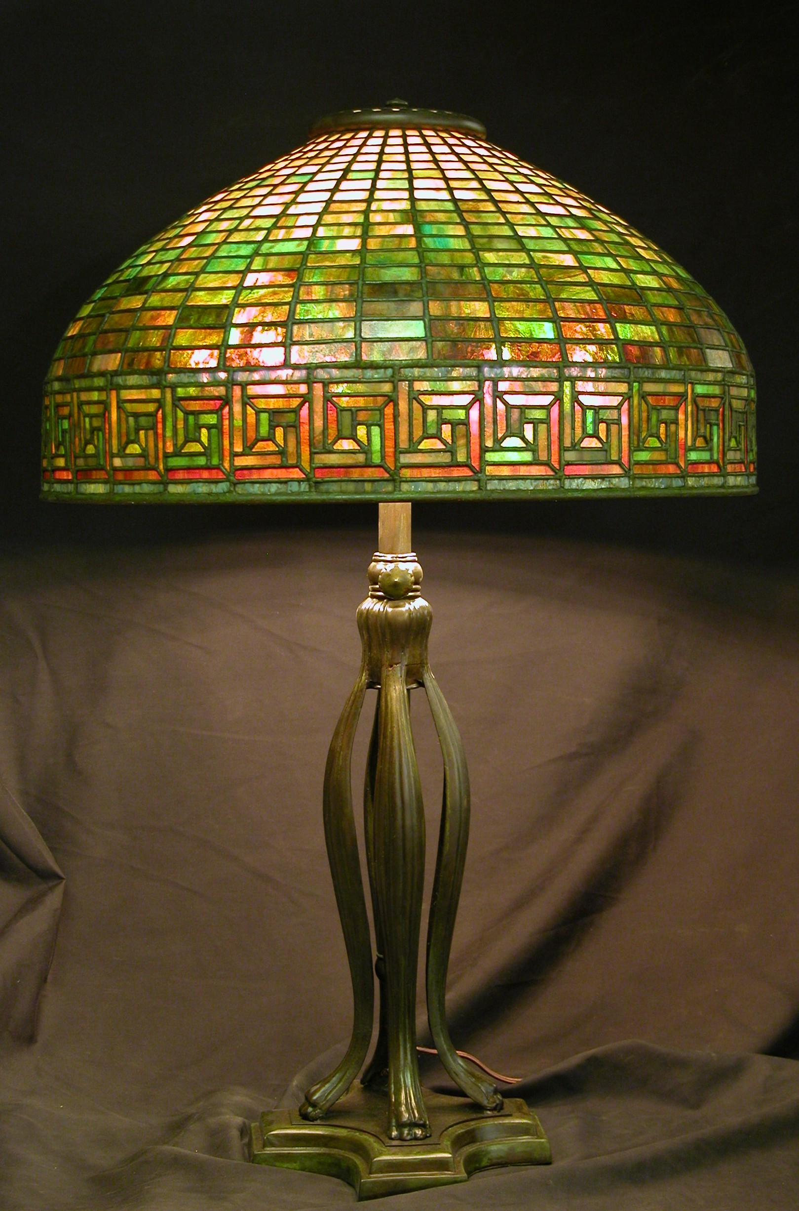 Custom Lighting Tiffany Greek Key Lamp